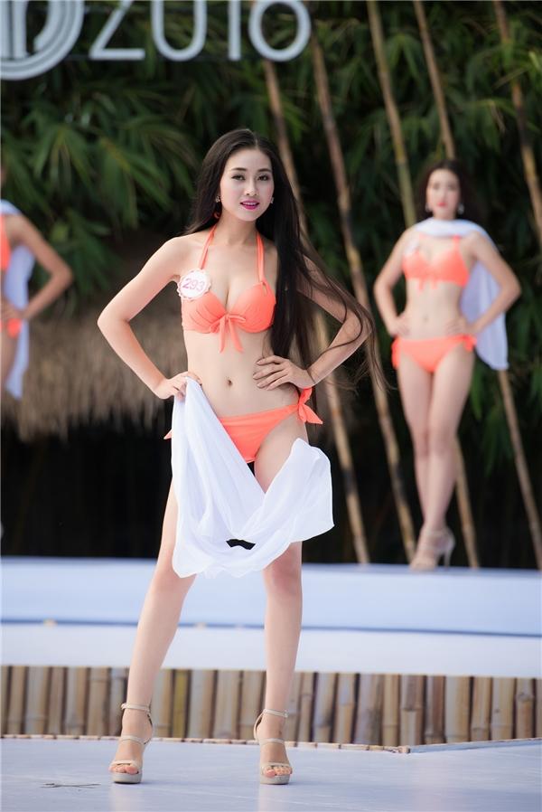 """Bùi Nữ Kiều Vỹ, """"bản sao"""" Hoa hậu Nguyễn Thị Huyền được đánh giá dừng chân ít nhất top 3 chung cuộc. Cô gái này cao 1m71 và đến từ Quảng Nam."""