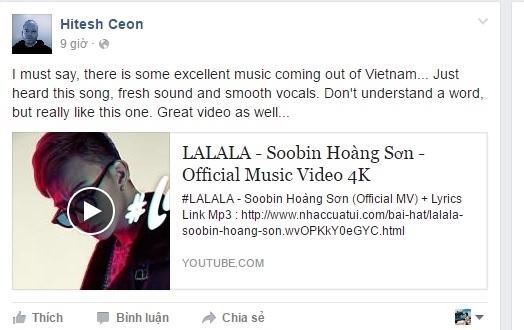 """Nhà sản xuất âm nhạc lừng danh Hitesh Ceon chia sẻ MV Lalala của Soobin lên trang cá nhân và dành cho chàng nghệ sĩ trẻ những lời """"có cánh"""". - Tin sao Viet - Tin tuc sao Viet - Scandal sao Viet - Tin tuc cua Sao - Tin cua Sao"""