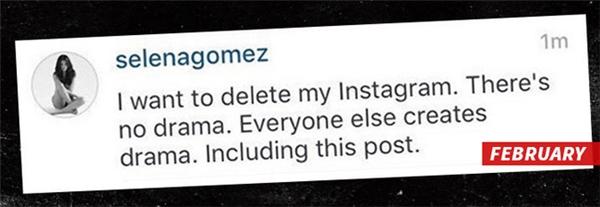 Vào tháng 2, Selena đã dọa fans sẽ xóa Instagram, vì vậy Justin cho rằng cô là kẻ hai mặt.
