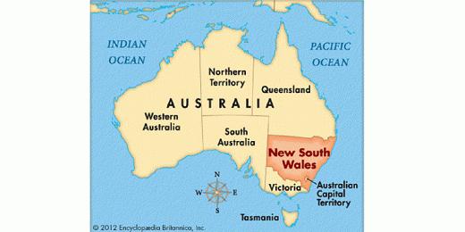Bang New South Wales (NSW) nằm ở Đông Nam, nước Úc. Nguồn ảnh: Internet.
