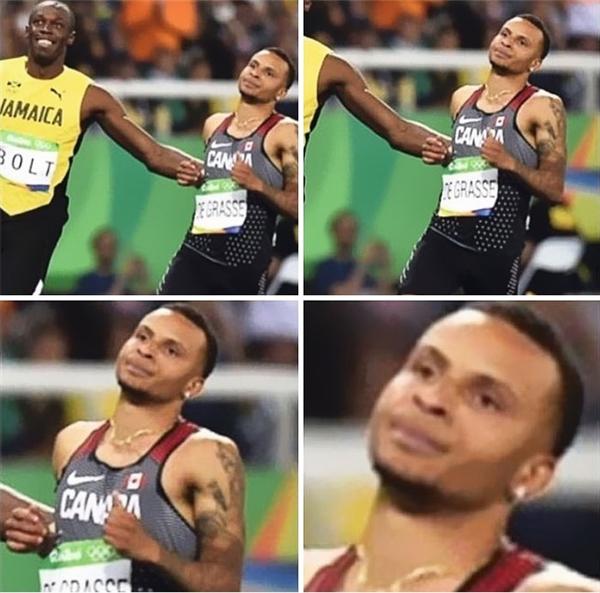 """Vận động viên đối thủ của Bolt thì lại trưng ra vẻ mặt siêu chán đời: """"Không biết tôi đến đây làm gì để bị cười vào mặt nữa?!"""""""