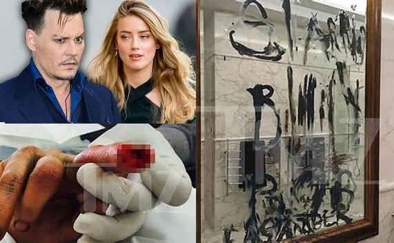 Johnny Deppbị đứt tay;nhúng ngón tay bị đứt vàosơn để viết lời tố cáo vợ ngoại tình.