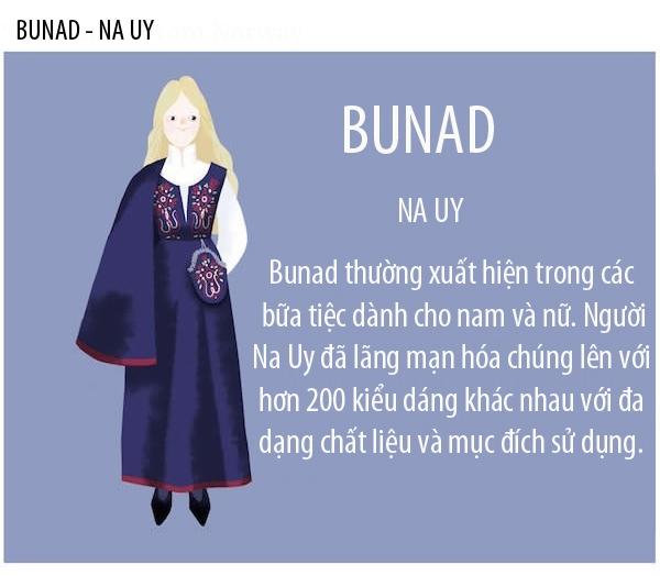 Bunad có nguồn gốc từchủ nghĩa lãng mạnở Na Uy và một số nước láng giềng. Sau một thời dài, trang phục này đã được phát triển với hàng trăm kiểu dáng khác nhau cho cả 2 giới tính. Những mẫuthiết kế Bunad thường rấtphức tạp với các kĩ thuật may thêu cầu kì.