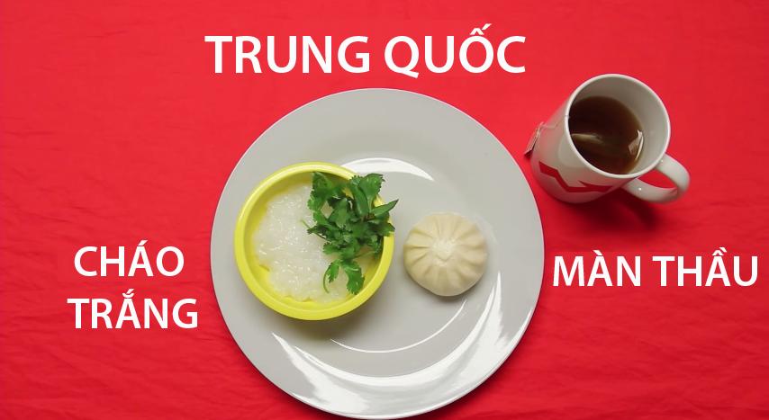 7. Trung Quốc - Bữa sáng truyền thống của người Trung Quốc không thể thiếumàn thầu và trà. Bên cạnh đó, họ còn ăn kèm với 1 bátcháo trắng có rắc các loại rau thơm.