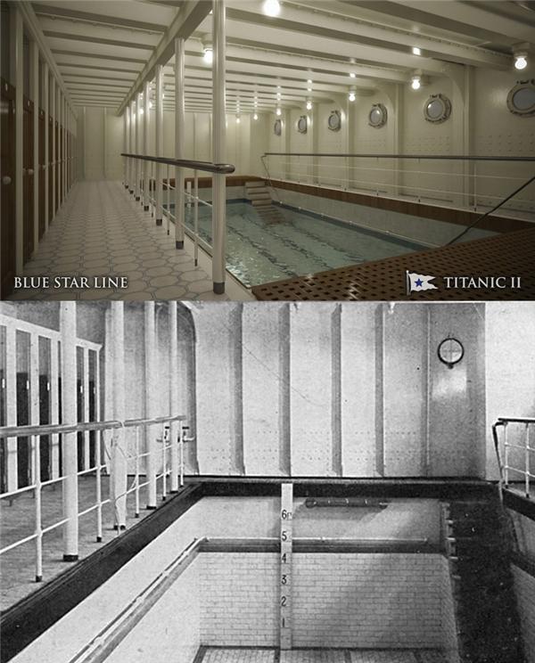 Đây là bể bơi nước mặn, nước chỉ được bơm vào bể khi tàu đã nhổ neo.