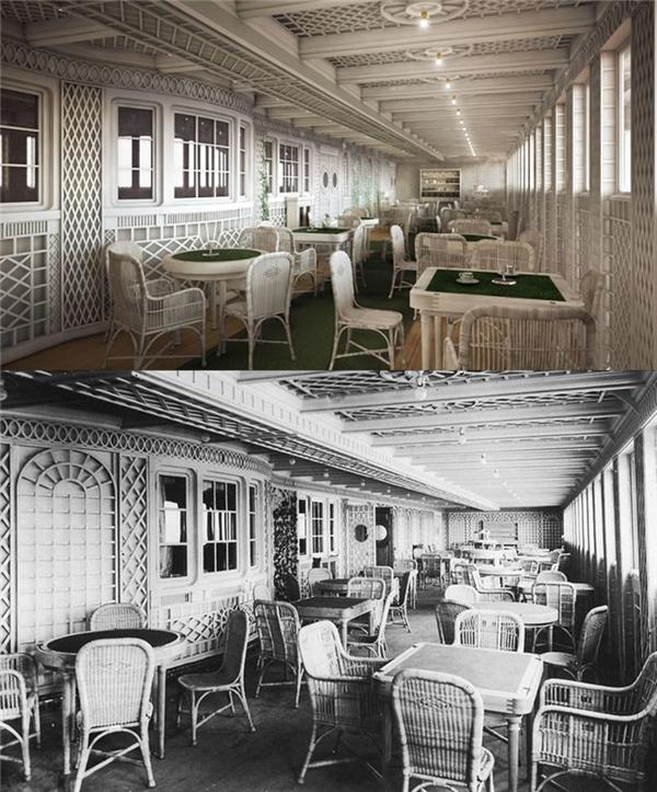 Đây là khu café theo phong cách thượng lưu Paris ở khoang hạng nhất, được sắp xếp giống như thể các hàng quán café vỉa hè rất nổi tiếng ở Paris.