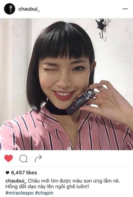 Son kem lì hồng đất tôn thêm vẻ sành điệu cho Fashion Icon Châu Bùi