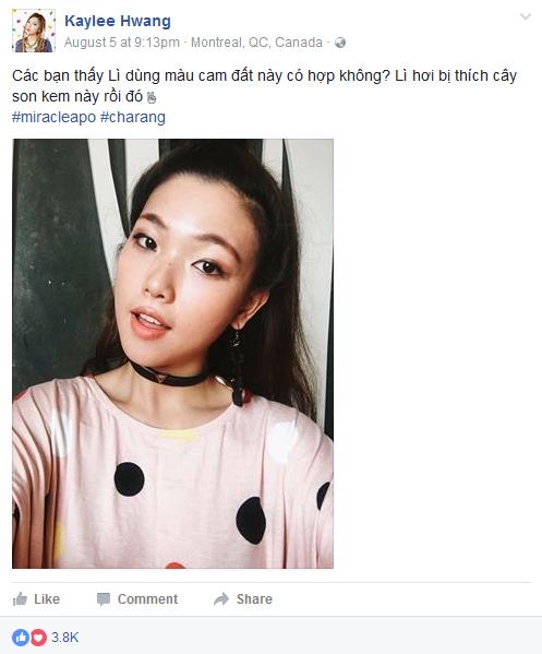 Nàng VJ cá tính Kaylee Hwang vô cùng thích thú với màu son cam đất Charang.