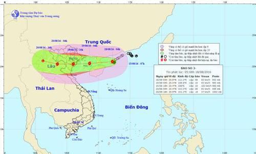 Cơn bão số 3tên (quốc tế là Dianmu) đang tăng tốc và mạnh dần lên.