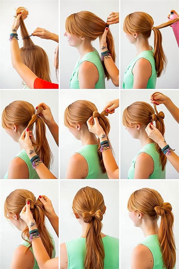 Điểm nhấn đặc biệt của kiểu tóc nàylà chiếc nơ tóc nhỏ xinh, được thắt khéo léo bên trên nút buộc.