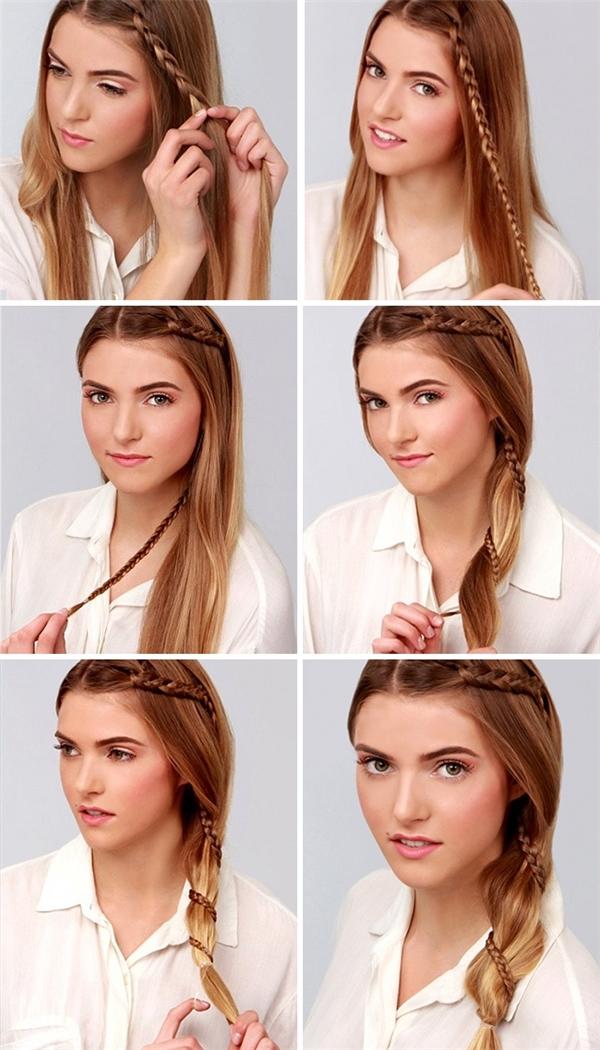 Bạn sẽ trông dịu dàng hơn nhiềuvới kiểu tóc thắt bím xoắn dọc.