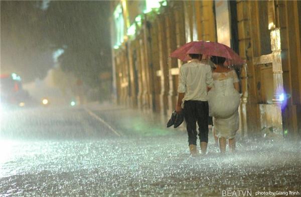 """Bức ảnh của """"cặp đôi bão bùng"""" làm cư dân mạng thích thú. (Ảnh: Giang Trịnh)"""
