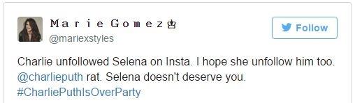 """""""Charlie đã hủy theo dõi Selena trên Instagram. Tôi mong cô ấy cũng làm thế. Đồ chuột Charlie Puth. Selena không xứng đáng với anh"""""""