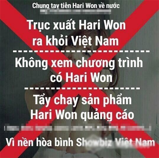 """Nhiều người đã quyết định tẩy chay Hari Won, họ ra lờikêu gọi""""chung tay trục xuất Hari Won khỏi Việt Nam""""bằng cách không xem chương trình có Hari Won, không dùng các quảng cáo có nữ ca sĩ Hàn Quốc này làm đại diện. - Tin sao Viet - Tin tuc sao Viet - Scandal sao Viet - Tin tuc cua Sao - Tin cua Sao"""