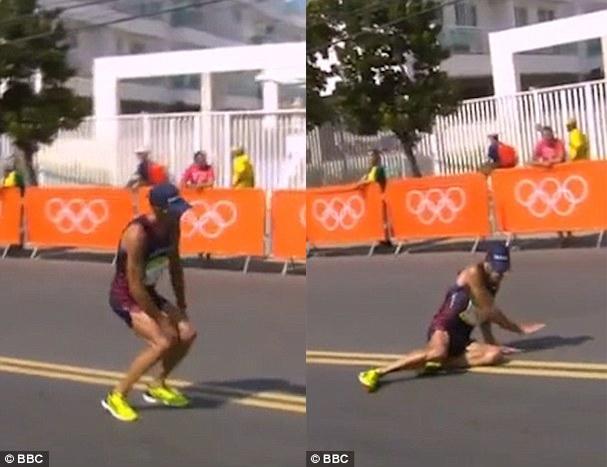 Kỉ lục gia Pháp dù đau bụng, ngã gục vẫn cố hoàn thành đường đua