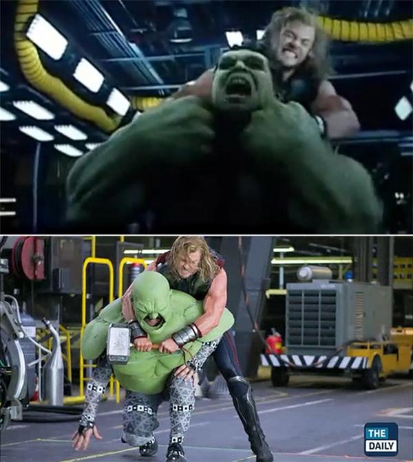 """Phân cảnh Thor """"huynh đệtương tàn"""" với Hulk khiến người xem phải hoảng sợ và hồi hộp chỉ trên phim, chứ nếu xem ảnh hậu trường thì sẽ trông như hai cậu con nít lớn xác đang... giành đồ chơi ngay ấy mà."""