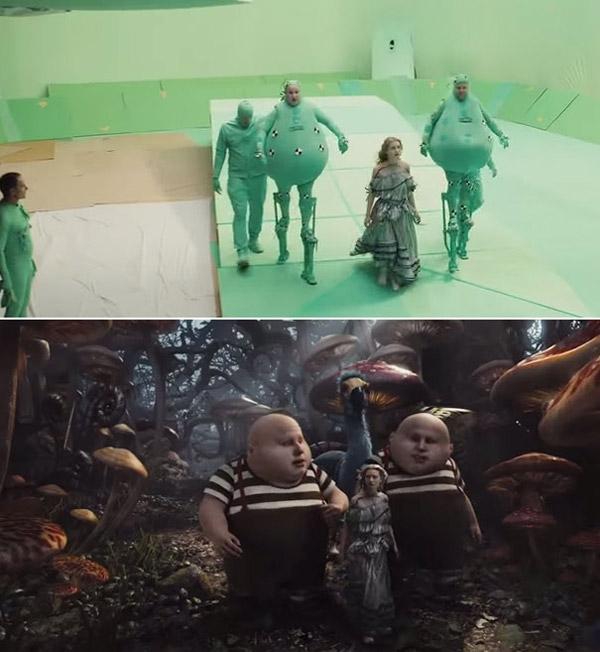 Alice lạc vào xứ sở của những con người mặc đồ độn màu xanh lá giữa khung cảnh cũng xanh lè nốt.