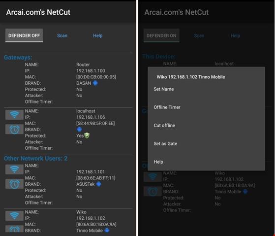 Giao diện ứng dụng Netcut. (Ảnh: internet)