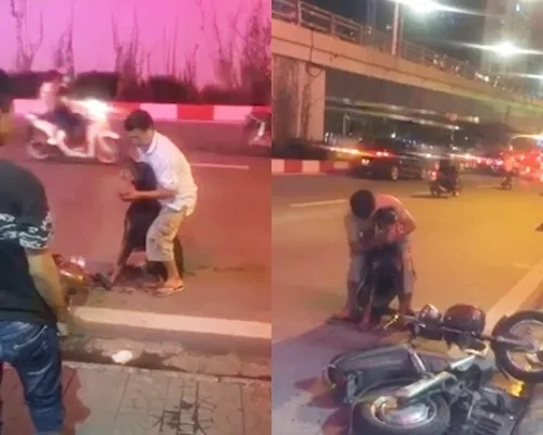 Sau cả 3 lần taxi dừng lại rồi lại từ chối, may mắn thay, một chàng trai chạy xe Dream ngang qua đã ra tay giúp đỡ.