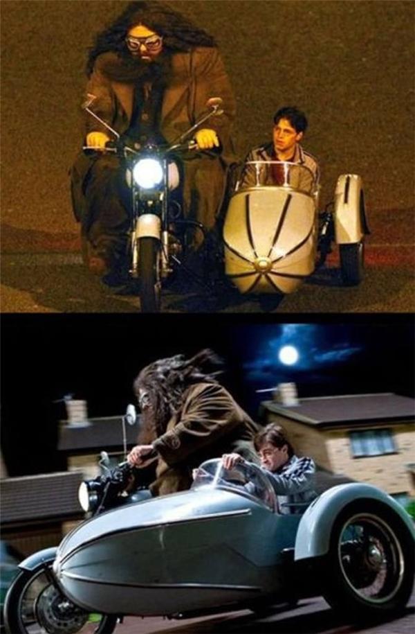 Daniel Radcliffe & Robbie Coltrane (dưới) và cặp diễn viên đóng thế, Harry Potter and the Deathly Hallows