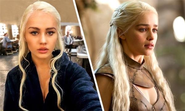 Emilia Clarke (phải) và diễn viên đóng thế Rosie Mac, phim Game of Thrones