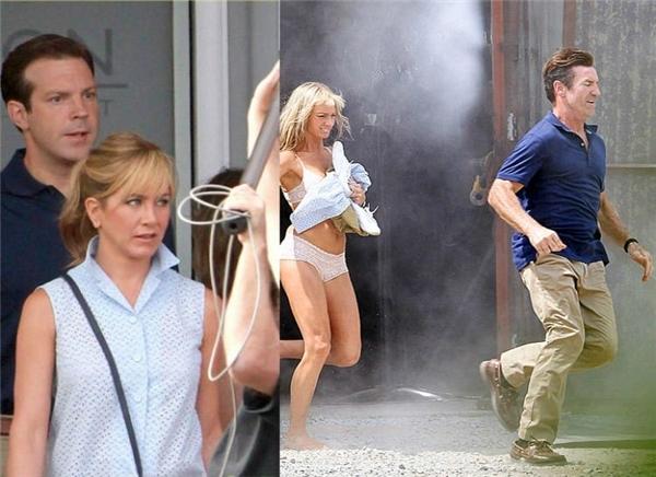 Jennifer Aniston & Jason Sudeikis (trái) cùng cặp diễn viên đóng thế, We're the Millers