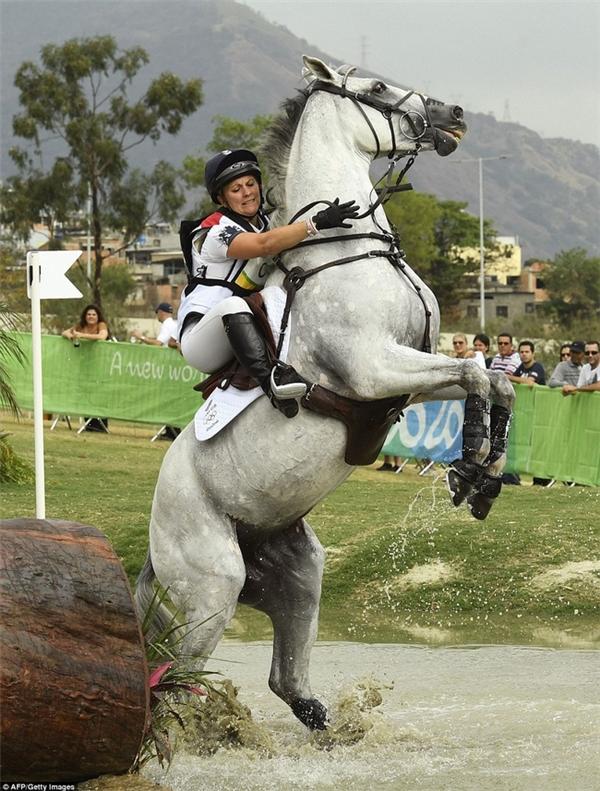 Gemma Tattersall của Vương quốc Anh cố gắng điều khiển con ngựa QuickLook V của mình băng qua chướng ngại vật.