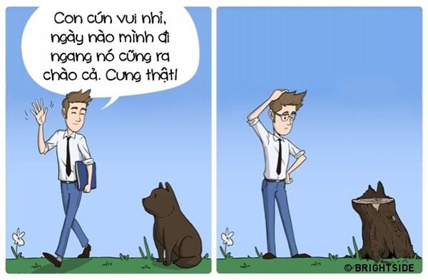 Niềm vui mỗi ngày của bạn là nhìn thấy chú cún dễ thương nhà hàng xóm mỗi ngày đều ra tiễn mình đi học, đi làm? Đeo kiếng vào đi, chỉ có gốc cây mới trung thành với mỗi một vị trí như thế thôi.