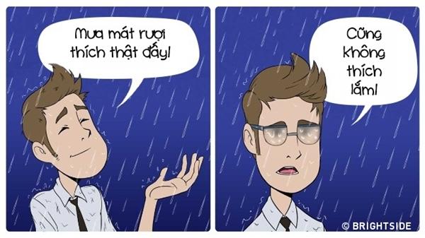 Bạn thích mưa, thích cảm giác những giọt nước mát vỗ về trên mặt? Đeo kiếng vào đi, tầm nhìn sẽ giảm xuống còn 3cm ngay.