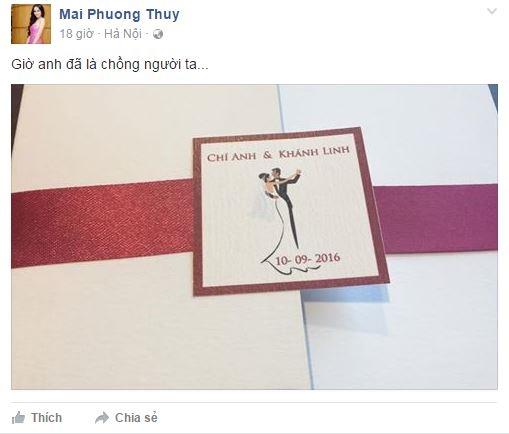 Thiệp cưới Chí Anh được hoa hậu Mai Phương Thúy chia sẻ trên trang cá nhân. - Tin sao Viet - Tin tuc sao Viet - Scandal sao Viet - Tin tuc cua Sao - Tin cua Sao