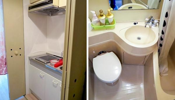 Ngay saucánh cửa nhàmàu vàng, trước khi bước vào phòng sinh hoạt trên,có một tủ quần áo, phòng tắmvà thậm chí là một nhà bếp nhỏ có mọi thứ bạn cần.