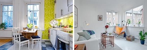 Cácbức tường và đồ nội thất màu trắng là nhữngdấu hiệu điển hình của thiết kế Scandinavian nổi tiếng thế giới.Hầu hết nội thất Thụy Điển có điểm nhấn tươi sáng và cửa sổ treo tự do.