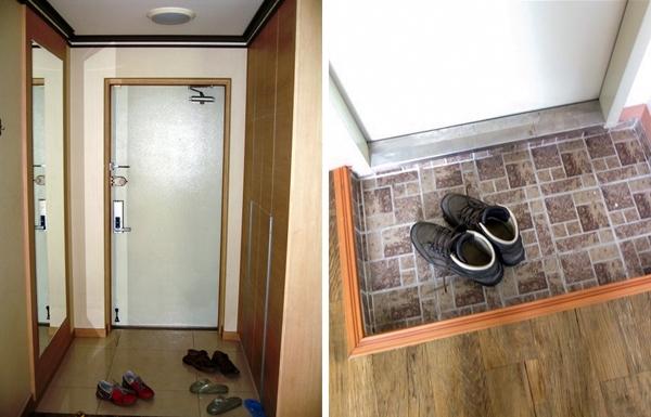 """Nghe có vẻ lạ lùngnhưng nhữngcăn hộ tại Hàn Quốc khôngcó hành lang, thậm chíngười dân địa phương còn tỏ ra khá mơ hồ đối vớitừ """"hành lang"""".Lối vào của căn hộ thường rất nhỏ và hẹp, rộng khoảng 1m.Vì vậy,khi bước vào căn hộ, bạn sẽ thấy ngay cánh cửa dẫn đến nhà bếp hoặc phòng khách.Hầu hết lối vào đều thiết kế theo xu hướng látsàn gạchvà đây cũng lànơi mà bạn nên cởi giày trước khi bạn bước vào một ngôi nhà Hàn Quốc."""