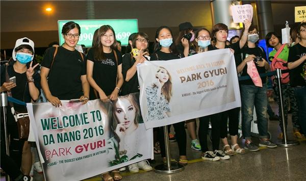 Hàng trăm fan đã đợi Park Gyuri nhiều giờ đồng hồ ở sân bay Đà Nẵng.