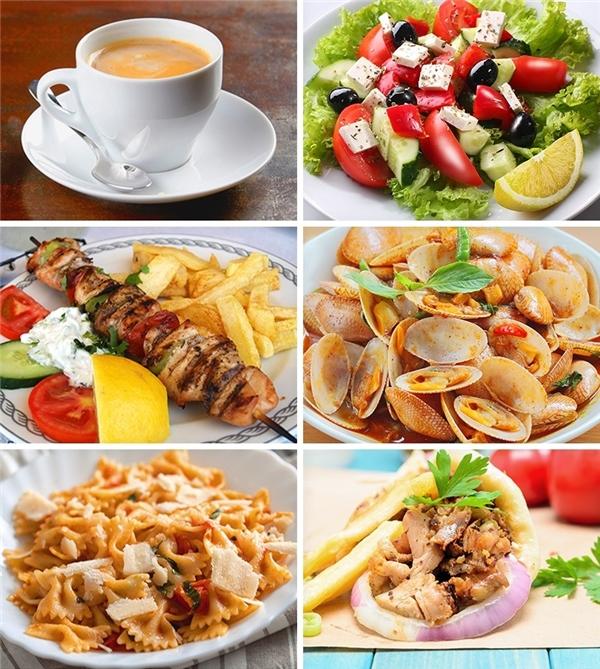 Đất nước Hy Lạp tiếp đón những thực khách của mình với các món ăn cổ điển tinh tế nhất. Các nhà hàng địa phương và cửa hàng ăn uống là những lựa chọn lí tưởng dành cho bạn. Đặc biệt ởphía Nam và sâutrongtrong khu vực ít khách du lịch, giá cả thực phẩm càng rẻ hơn.