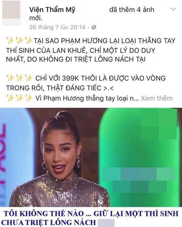 Một thẩm mỹ viện đã dùng hình ảnh Phạm Hương tại The Face, xuyên tạc thành nội dung hài hước nhằm thu hút sự chú ý của cộng đồng mạng. Ảnh: internet - Tin sao Viet - Tin tuc sao Viet - Scandal sao Viet - Tin tuc cua Sao - Tin cua Sao