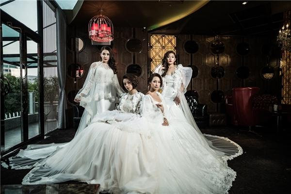 """Dàn """"trò cưng"""" Hà Hồ đẹp lộng lẫy khi diện váy cưới"""