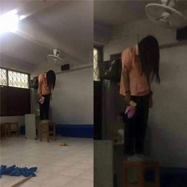 Sự thật là cô gái đang hong khô tóc khi bức ảnh được phóng to lên.