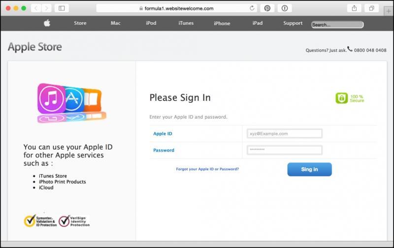 Trang web giả mạo Apple. (Ảnh: internet)