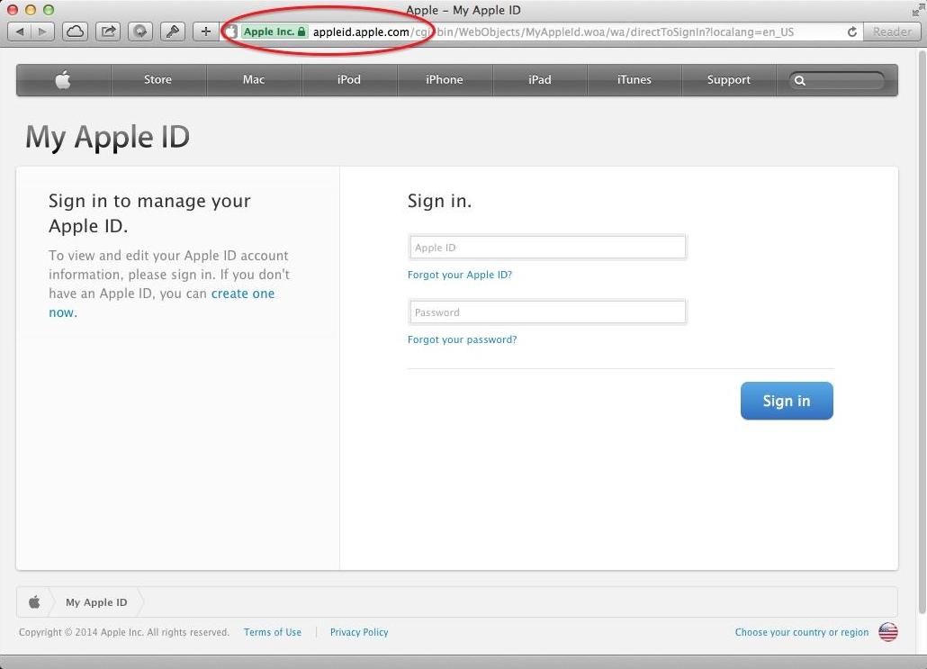Trang web chính thức của Apple có đóng dấuEV Certificate trên thanh địa chỉ. (Ảnh: internet)