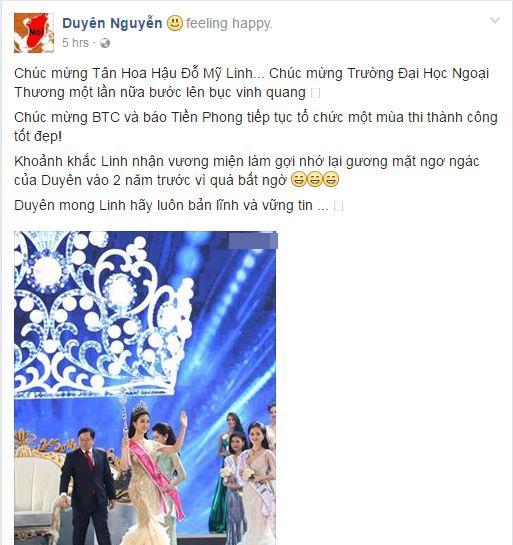 Kỳ Duyên gửi lời chúc mừng tân Hoa hậu Việt Nam 2016 trên trang cá nhân.