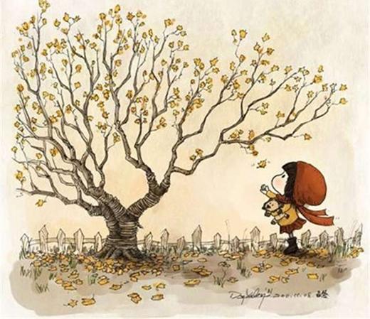 Mùa thu cùng con đi nhặt lá vàng, ngắm trời xanh.