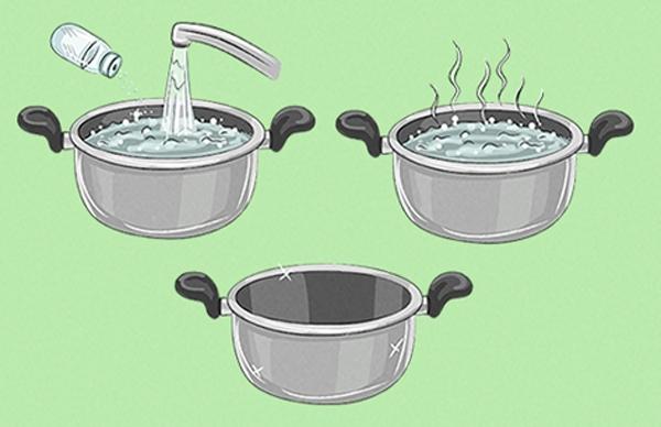 Những chiếc nồi lớn dùng để kho cá, kho thịt thường mất nhiều thời gian để cọ rửa. Vì thế bạn hãy cho vào nồi 1-2 muỗng bột baking soda và đổnước ngập phần vết bẩn dính trong nồi, sau đó đem đun sôi hỗn hợp này lên. Phần bột nở không chỉ hút hết chất dơ mà còn làm mềm, khiến chúng dễ bong tróc khi rửa với nước. Nếu không có sẵn bột baking soda ở nhà thì bạn có thể dùng bột mì để thay thế.