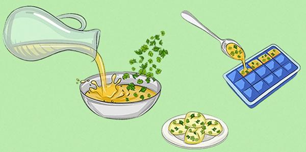 Nếu bạn muốn bảo quản thật lâu các loại gia vị cũng như thảo mộc mà không biết làm cách nào thì phương pháp rất đơn giản. Đó chính là đổ chúng vào trong bát nước, cho thêm 1 ít dầu ăn hoặcdầu oliu, bỏ vào ngăn đá tủ lạnh, khi nào có dịp cần dùng thì rãđông là được.