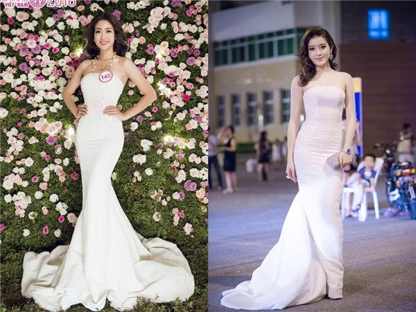 Trong bộ ảnh dạ hội trước thềm đêm chung kết, Mỹ Linh cũng từng diện lại bộ váy trắng mà Huyền My mang lên thảm đỏ một sự kiện lớn tại thủ đô Hà Nội cách đây vài tháng.