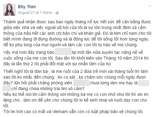 Elly Trần khiến nhiều người ngỡ ngàng khi thông báo sẽ khởi kiện một bài viếtxuyên tạc cuộc sống của 3 mẹ con nữ diễn viên. - Tin sao Viet - Tin tuc sao Viet - Scandal sao Viet - Tin tuc cua Sao - Tin cua Sao
