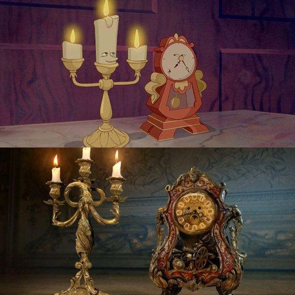 Hai anh chàng nến Lumiere và đồng hồ Cogsworth được thiết kế chi tiết và lung linh hơn cả phiên bản hoạt hình.