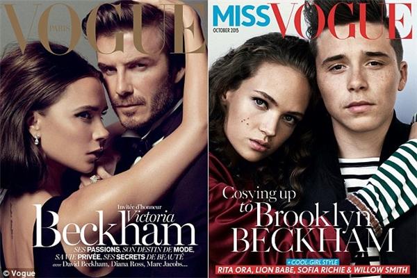 Bức ảnh bên trái là ngôi sao điển trai David Beckham, cònbên phải là hình ảnh con trai cả, Brooklyn Beckham trong vai trò người mẫu.