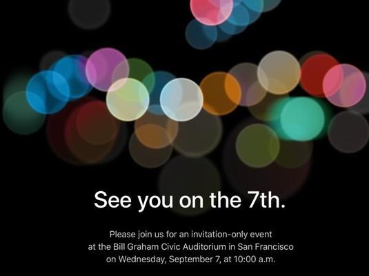 Thư mời điện tử tham dự sự kiện ra mắt iPhone 7 của Apple. (Ảnh: internet)