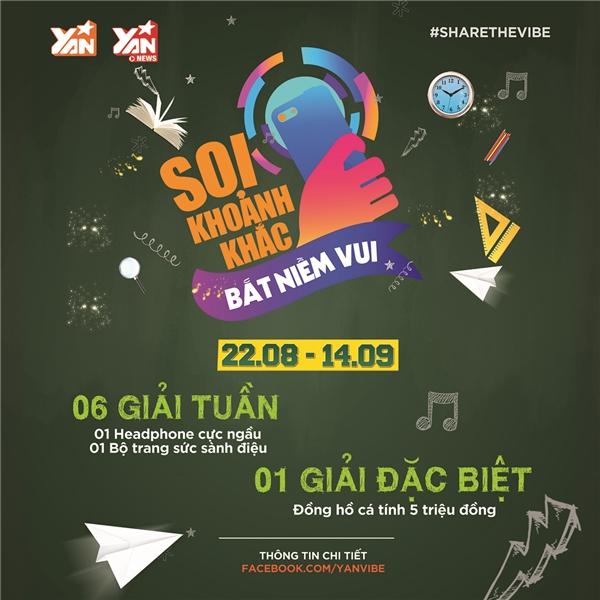 Thời gian tham gia từ nay đến ngày 14/9. Thông tin chi tiết xem tại fanpage Yan Vibe.